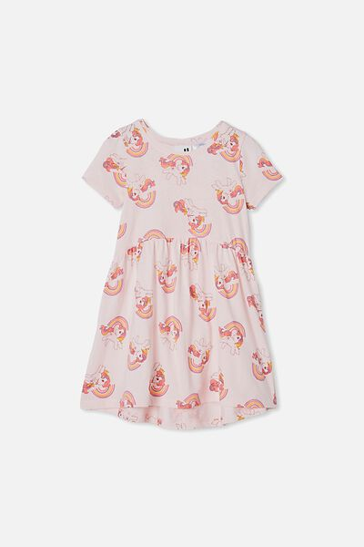License Freya Short Sleeve Dress, LCN HAS CRYSTAL PINK/MY LITTLE PONY RAINBOW