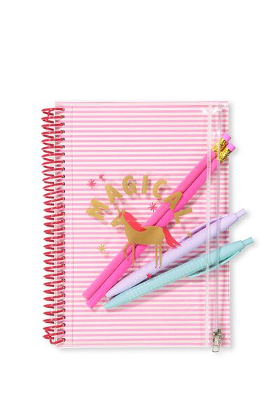 A5 Spiral Notebook W/Case, PINK UNICORN