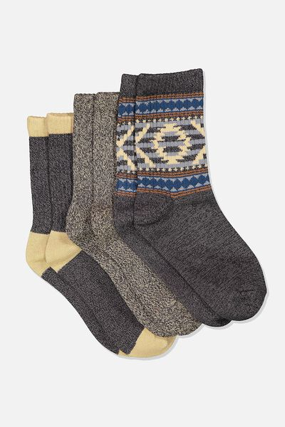 Kids 3 Pk Fashion Crew Socks, BLACK AZTEC