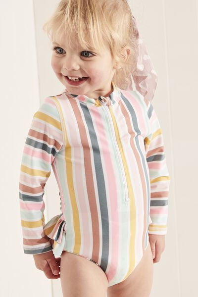 Malia Long Sleeve One Piece Swimsuit, GELATI MULTI STRIPE