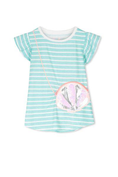 Anna Short Sleeve Flutter Tee, ARUBA BLUE/VANILLA STRIPE CLAM BAG