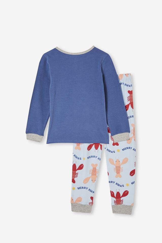 Orlando Long Sleeve Pyjama Set, SANTA CLAWS LOBSTER/PETTY BLUE