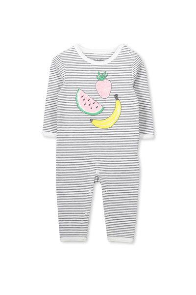Mini Long Sleeve Snap Bodysuit, VANILLA STRIPE/FRUITY