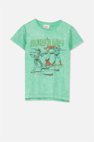 Short Sleeve License Tee, ECO GREEN WASH/SURFS UP