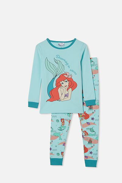 Lila Long Sleeve Pajama Set, LCN DIS ARIEL DREAM BLUE