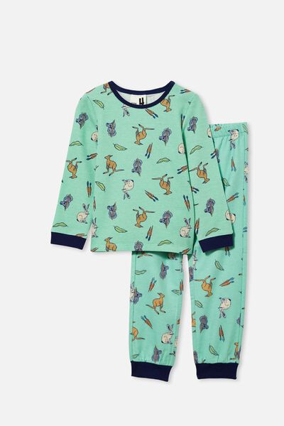 Noah Long Sleeve Pyjama Set, AUSTRALIANA EASTER/MINT BREEZE