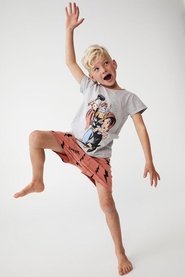 Hudson Short Sleeve Pyjama Set Marvel, LCN MAR MIGHTY THOR/SUMMER GREY MARLE