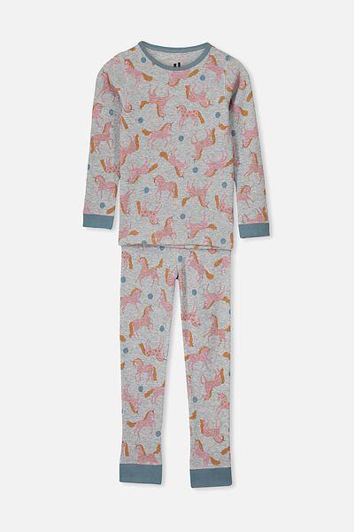 Jessie Long Sleeve Waffle Pajama Set, PLAYFUL UNICORNS