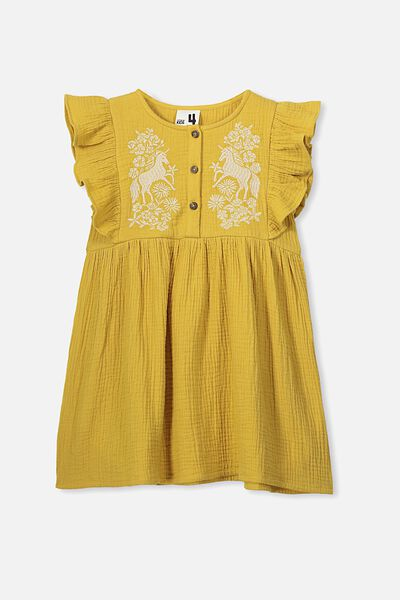Goldie Sleeveless Dress, HONEY GOLD/UNICORN EMB