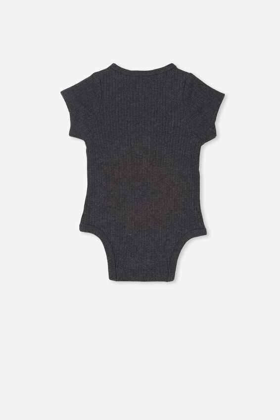 The Short Sleeve Button Bubbysuit, GRAPHITE MARLE