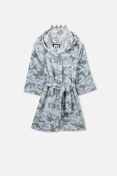 Boys Long Sleeve Gown, DINO CAMO
