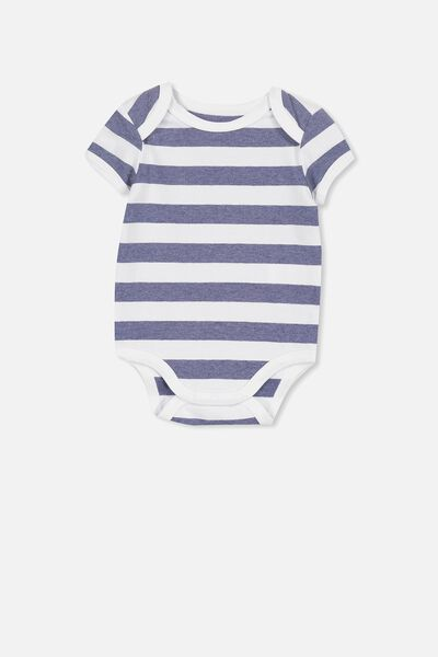 f982c7bd7 Mini Short Sleeve Bodysuit, WHITE/INDIAN INK MARLE STRIPE