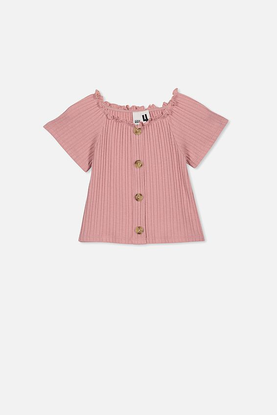 Effie Short Sleeve Button Through Top, SWEET BLUSH