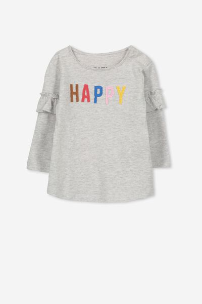 Ginger Ls Tee, CLOUD MARLE/HAPPY