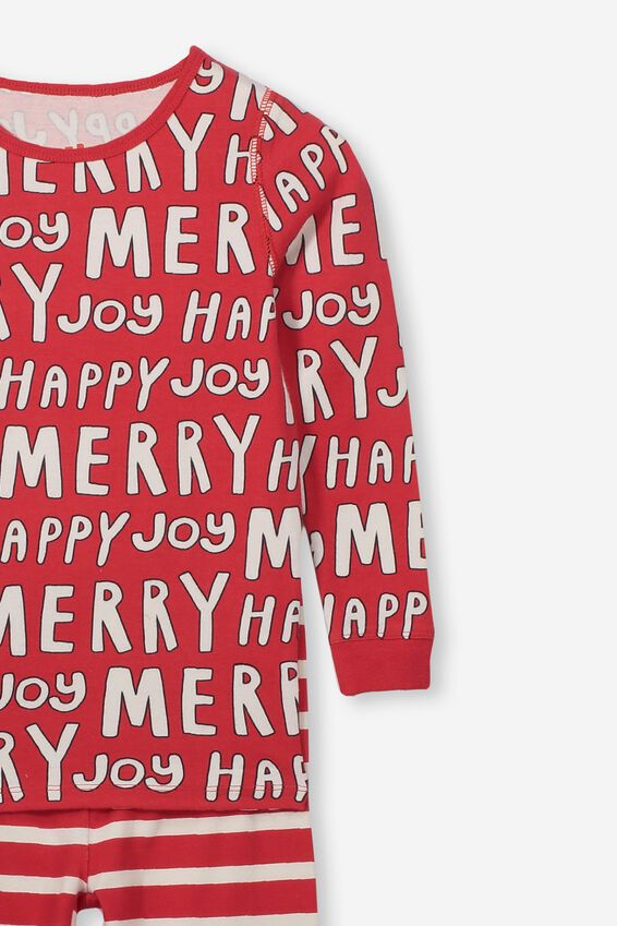 Kids Christmas Unisex PJ Set, XMAS HAPPY MERRY