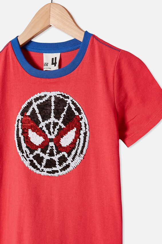 Short Sleeve License1 Tee, LCN MAR SPIDEY REVERSIBLE SEQUINS/LUCKY RED
