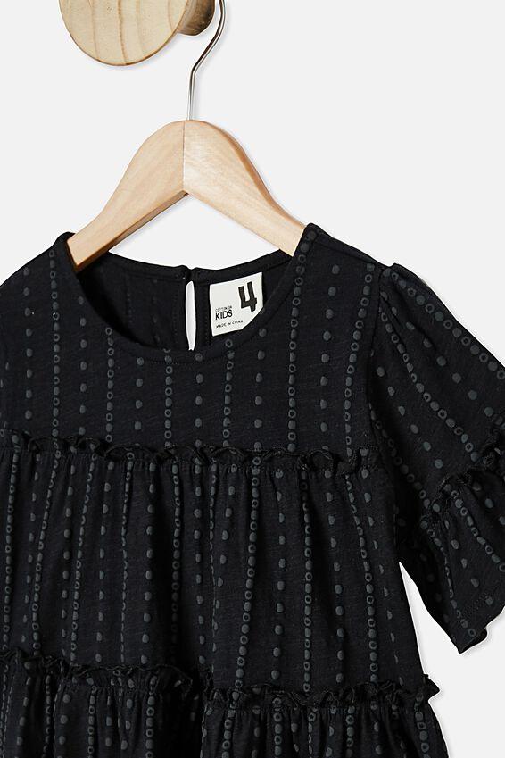 Frida Short Sleeve Frill Top, BLACK