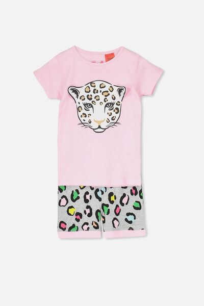 Chloe Girls Short Sleeve PJ Set, RAINBOW LEOPARD