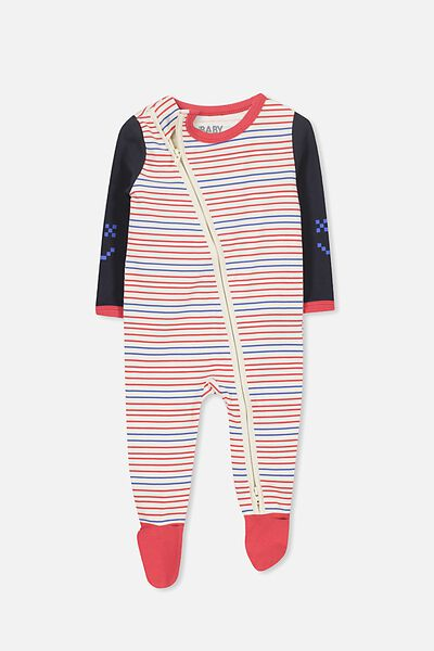 Sleep Mini Zip All In One Jumpsuit, DARK VANILLA/STRIPE