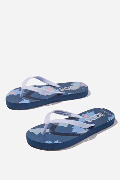 Printed Flip Flop, FLORAL PETTY BLUE