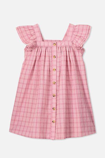 Polly Placket Dress, SWEET BLUSH/CHECK