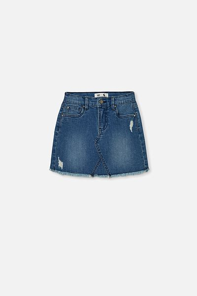 Finn Denim Skirt, WEEKEND WASH/RIPS