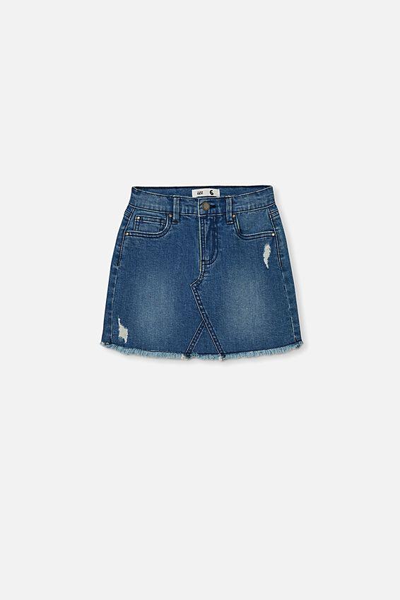 Finn Denim Skirt, MID WASH/RIPS