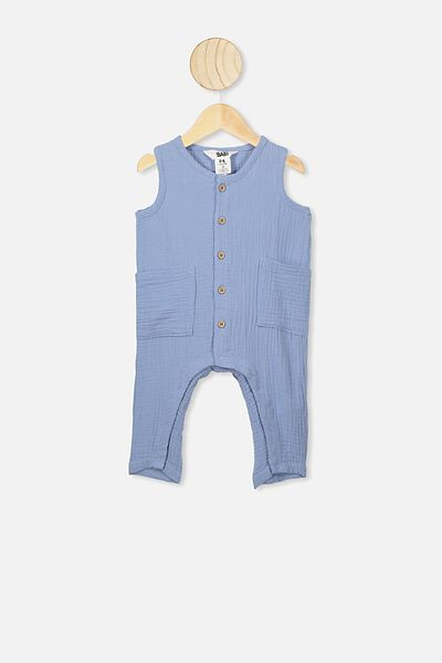 Brady Romper, POWDER PUFF BLUE