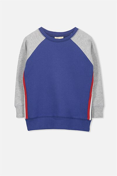 Lachy Crew Sweater, INK BLUE/LT GREY MARLE STRIPE