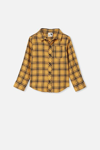 Rugged Long Sleeve Shirt, VINTAGE HONEY/NAVY PLAID CHECK