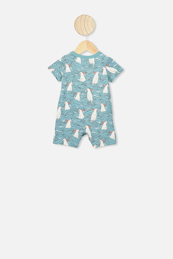 The Short Sleeve Romper, AQUA DREAM/COLIN COCKATOO
