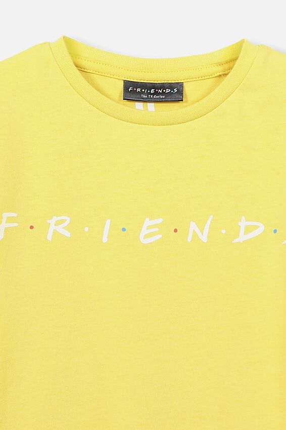 Lux Short Sleeve Tee, LCN WB CORN SILK/FRIENDS LOGO/MAX