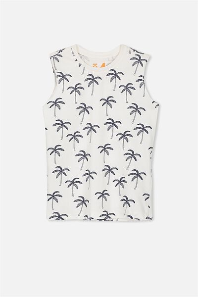 Orson Tank, VANILLA WASHED NAVY PALM TREES/MUSCLE