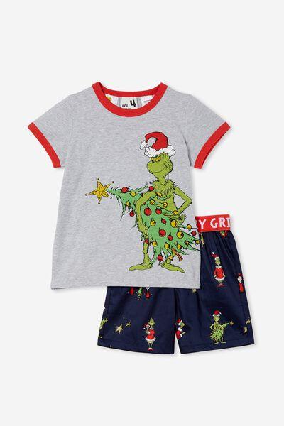 Nick Kids Short Sleeve Pyjama Set Licensed, LCN DRS GRINCH XMAS TREE INDIAN INK