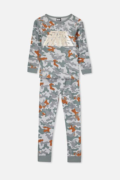 Ethan Long Sleeve Boys Pyjama Set, LCN LU STAR WARS/CAMO