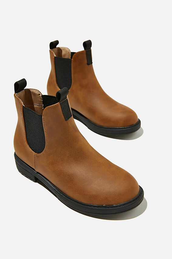 Pull On Gusset Boot, VINTAGE BROWN