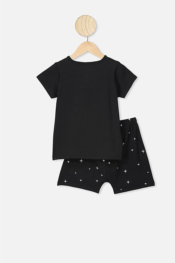Hudson Short Sleeve Pyjama Set, LCN UNI BLACK ET