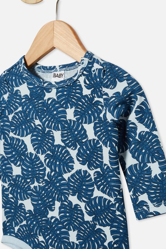 The Long Sleeve Bubbysuit, FROSTY BLUE/TROPICAL LEAVES