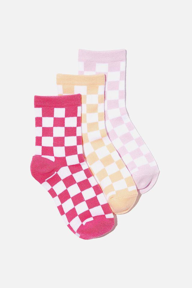 Kids 3Pk Crew Socks, CHECKER BOARD PINK PEACH VIOLET