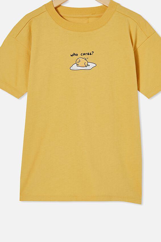 License Drop Shoulder Short Sleeve Tee, LCN SAN HONEY GOLD / GUDETAMA WHO CARES