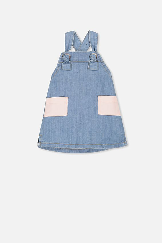 Penelope Pinafore, LT WASH DENIM/BUBBLEGUM