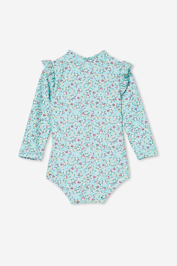Nicky Long Sleeve Ruffle Swimsuit, DREAM BLUE/POPCORN SOMERSET FLORAL