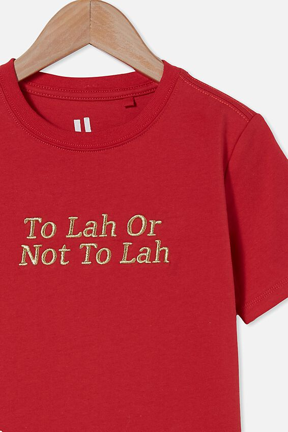 Downtown Short Sleeve Tee, LUCKY RED/TO LAH OR NOT TO LAH