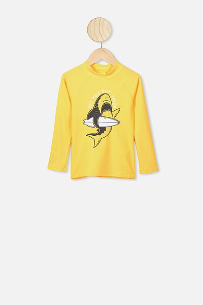 Flynn Long Sleeve Rash Vest, YELLOW/SURF SHARK