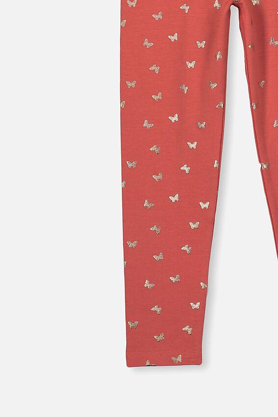Huggie Leggings, RED BRICK/ROSE GOLD BUTTERFLIES