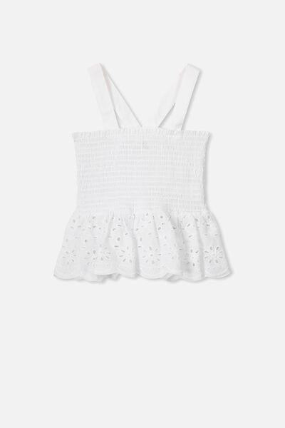 Olena Shirred Cami, WHITE/BRODERIE