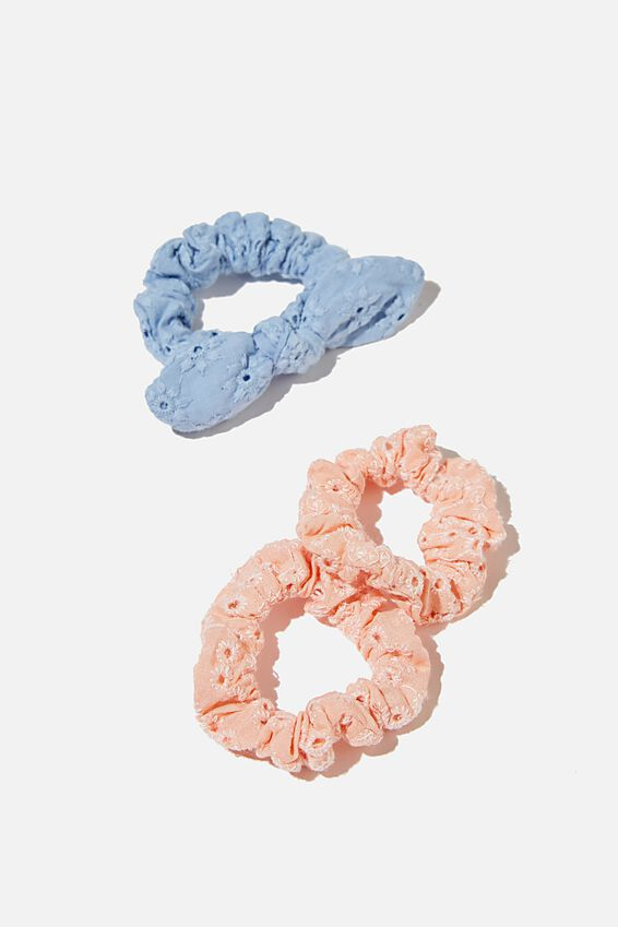 Mini Scrunchies - Broderie, PINK FLORAL BROIDERIE
