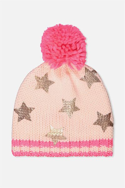Winter Knit Beanie, ROSE GOLD FOIL STAR