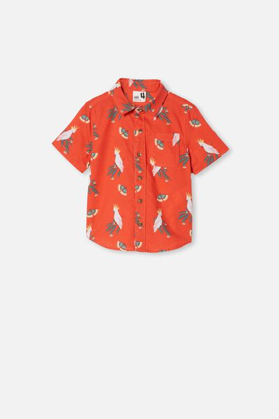Resort Short Sleeve Shirt, COCKATOO GUMNUTS/RED ORANGE