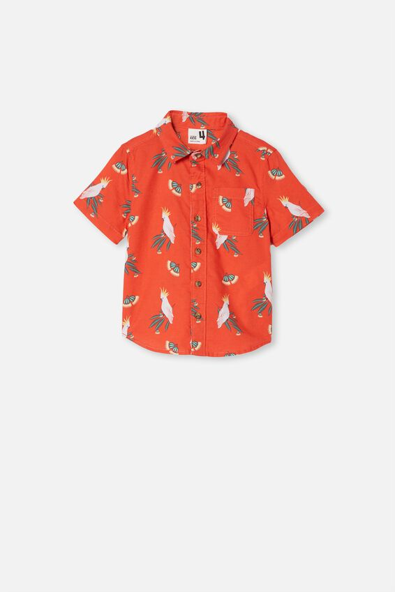 Resort Short Sleeve Shirt, COCKATOO GUMNUTS/RED ORANGE